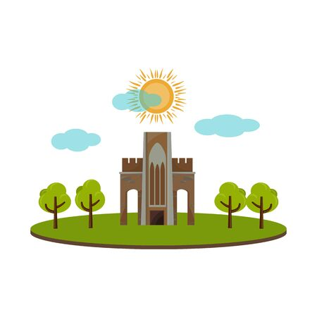 Vector illustration of building and vietnam sign. Collection of building and palace vector icon for stock. Ilustrace