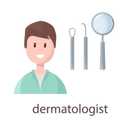 Isolated object of dermatologist and scar symbol. Collection of dermatologist and dermatology stock symbol for web.