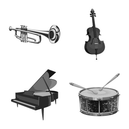 Vector design of music and tune . Set of music and tool stock symbol for web. Illustration