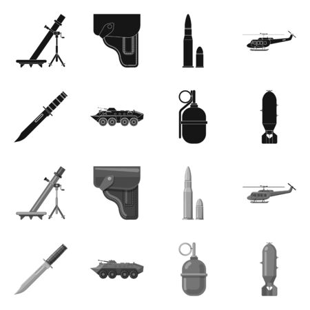 Isolated object of weapon and gun sign. Set of weapon and army vector icon for stock. 向量圖像