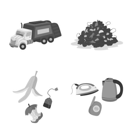 Vector design of waste and garbage . Collection of waste and separation vector icon for stock. Foto de archivo - 134927415