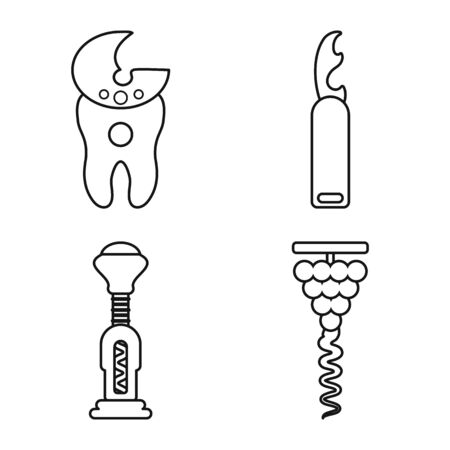 Isolated object of winery and mechanical logo. Set of winery and uncork stock symbol for web.  イラスト・ベクター素材