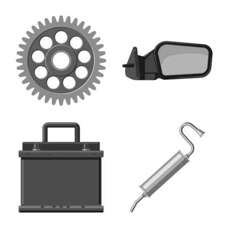 Isolated object of auto and part . Set of auto and car vector icon for stock.