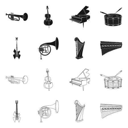 Vector design of music and tune icon. Collection of music and tool stock symbol for web.