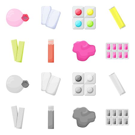 Isolated object of bubblegum and product sign. Collection of bubblegum and dental stock vector illustration.