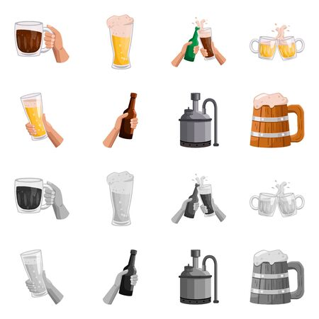 Vector design of bar and oktoberfest . Collection of bar and pint stock symbol for web. Illustration
