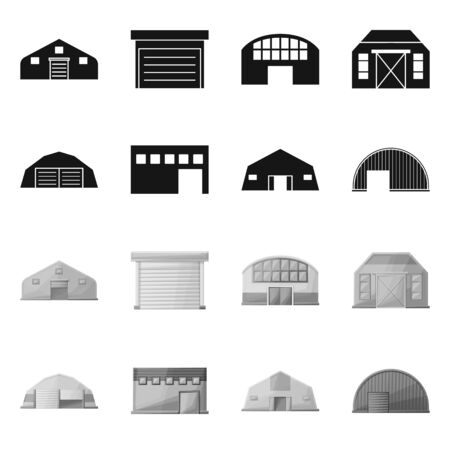 Vector design of architecture and facade icon. Set of architecture and construction stock vector illustration.