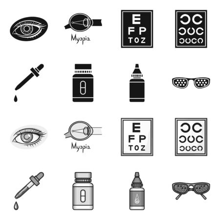 Vector illustration of optometry and medicine symbol. Collection of optometry and diagnostic stock vector illustration.