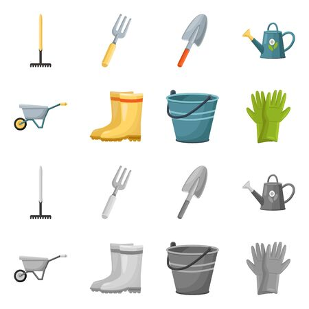 Isolated object of garden and horticulture logo. Set of garden and agriculture vector icon for stock.