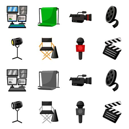 Vector design of news and studio symbol. Set of news and program stock symbol for web. Illustration
