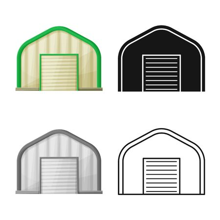 Vector design of hangar and canopy sign. Web element of hangar and warehouse vector icon for stock.
