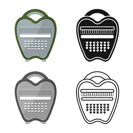 Vector illustration of grater and instrument logo. Web element of grater and crockery vector icon for stock.