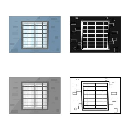 Vector design of window and prison sign. Graphic of window and cell stock vector illustration.