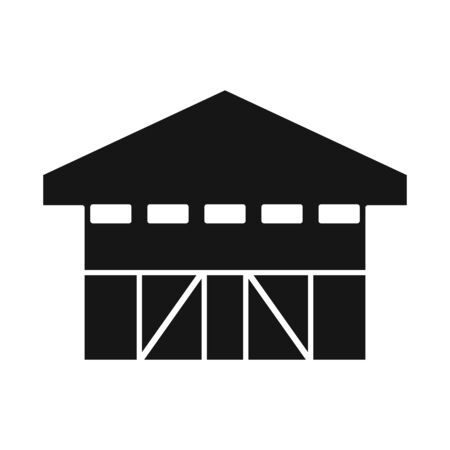 Vector design of hangar and garage logo. Web element of hangar and depot stock symbol for web.