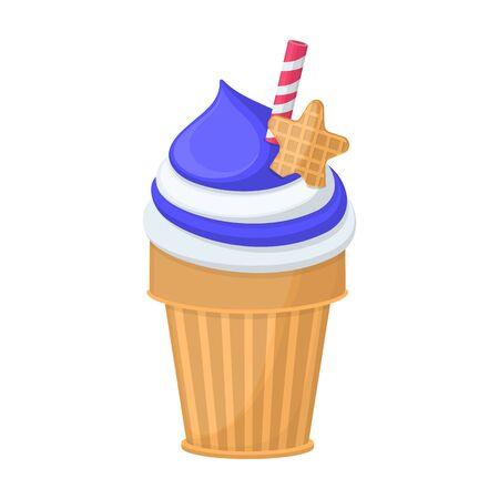 Ice cream in cone vector icon.Cartoon vector icon isolated on white background ice cream in cone.