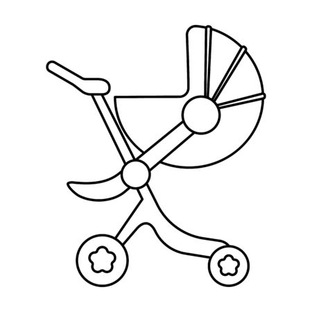 Stroller vector icon.Line vector icon isolated on white background stroller.