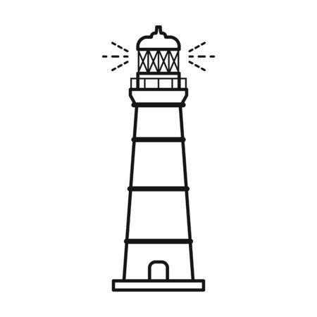 Icône de vecteur de phare. Icône de vecteur de ligne isolé sur fond blanc phare.
