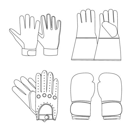 Vector design of glove and winter icon. Collection of glove and equipment stock symbol for web.