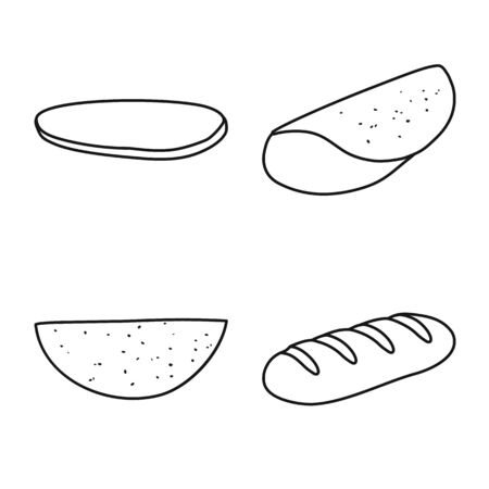 Vector illustration of burger and snack symbol. Collection of burger and breakfast vector icon for stock.