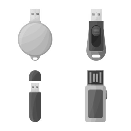 Vector design of drive and flash icon. Set of drive and accessory stock symbol for web.