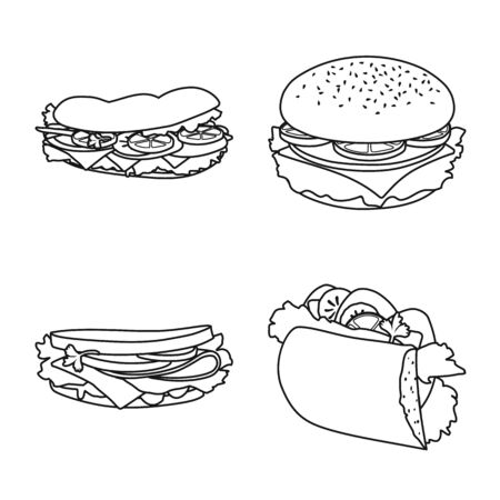 Isolated object of fastfood and lunch sign. Set of fastfood and snack vector icon for stock.