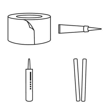 Vector illustration of fixing and supplies sign. Set of fixing and liquid stock symbol for web.
