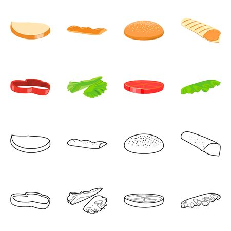 Vector design of dinner and fast symbol. Collection of dinner and delicious stock vector illustration.