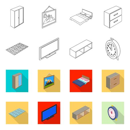 Isolated object of bedroom and room icon. Collection of bedroom and furniture stock symbol for web. Illustration