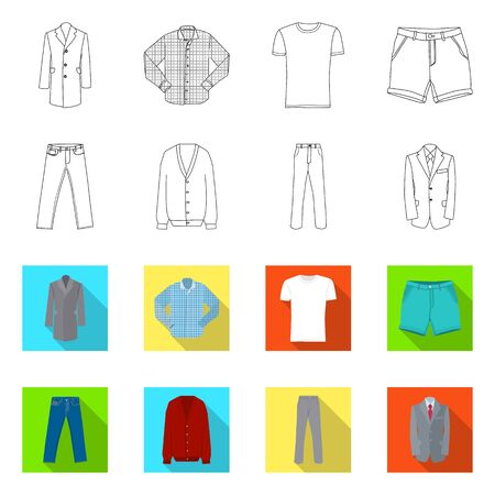 Vector illustration of man and clothing . Set of man and wear stock vector illustration. Illustration