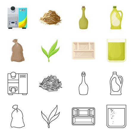 Isolated object of tropical and produce symbol. Collection of tropical and industry stock symbol for web.