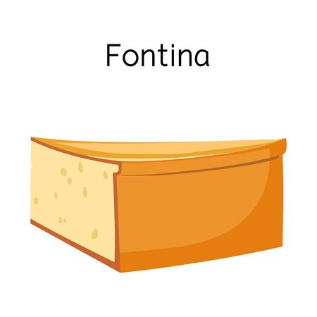 Vector design of cheese and fontina icon. Graphic of cheese and slice stock vector illustration.