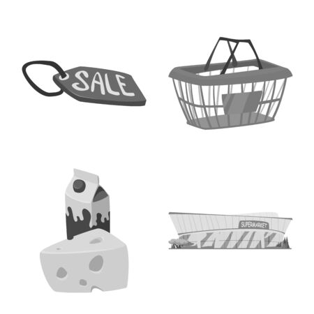 Isolated object of food and drink icon. Collection of food and store vector icon for stock. Ilustração