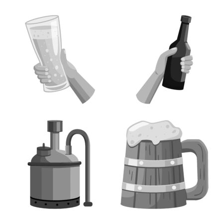 Vector illustration of pub and alcohol symbol. Collection of pub and bar vector icon for stock.