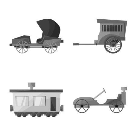 Vector design of retro and trip symbol. Set of retro and historic vector icon for stock.