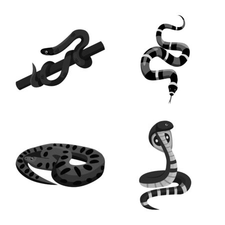 Vector design of snake and creepy sign. Collection of snake and animal stock vector illustration.