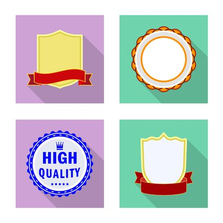 Vector design of emblem and badge . Set of emblem and sticker vector icon for stock. Stock Illustratie