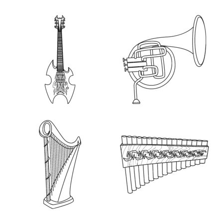 Isolated object of music and tune symbol. Collection of music and tool vector icon for stock. Ilustração