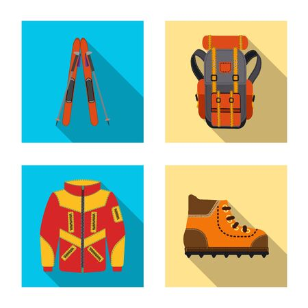 Isolated object of mountaineering and peak  . Collection of mountaineering and camp stock vector illustration.
