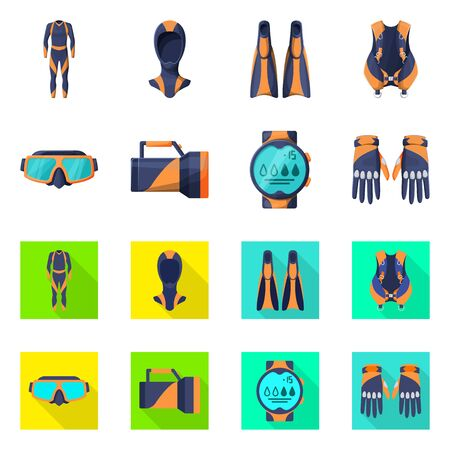 Isolated object of diving and water sign. Collection of diving and scuba stock symbol for web. Ilustrace
