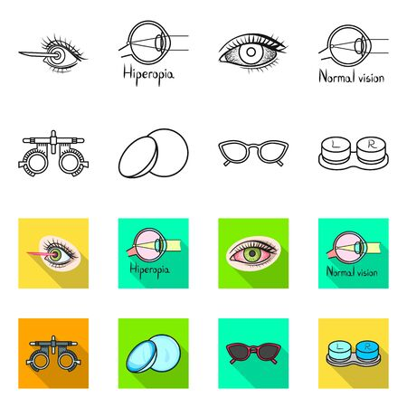 Vector design of optometry and medicine . Set of optometry and diagnostic stock vector illustration.