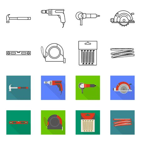 Vector illustration of household and repair icon. Set of household and overhaul stock symbol for web.