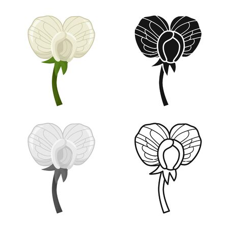 Vector design of flower and peas symbol. Web element of flower and leaf stock vector illustration.