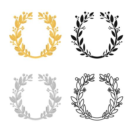 Isolated object of wreath and laurel sign. Graphic of wreath and crown stock symbol for web.