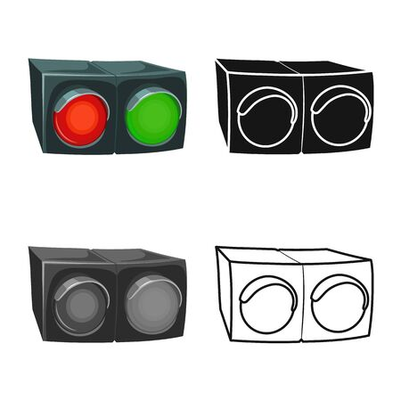 Vector illustration of stoplight and signal sign. Web element of stoplight and lamp stock symbol for web. Stock Illustratie