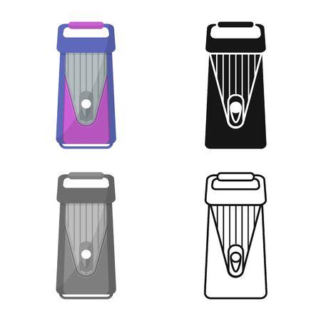 Vector design of grater and instrument symbol. Web element of grater and crockery stock vector illustration. Ilustração