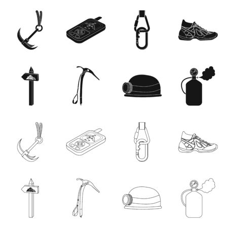 Vector illustration of mountaineering and peak . Collection of mountaineering and camp vector icon for stock.