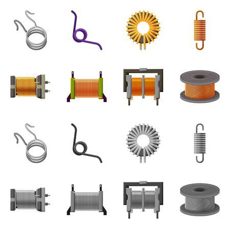 Isolated object of compression and torsion symbol. Set of compression and technology stock vector illustration.