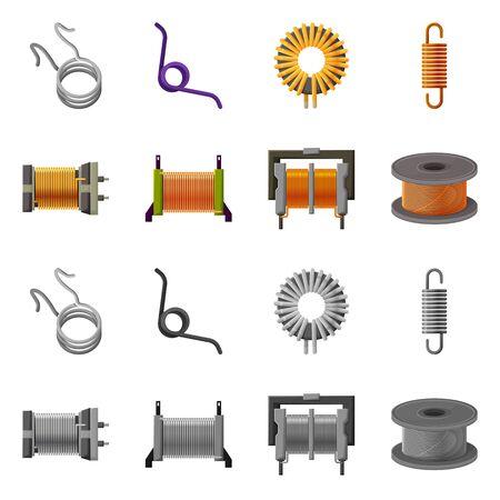 Isoliertes Objekt mit Kompressions- und Torsionssymbol. Satz von Kompressions- und Technologievorrat-Vektorillustration.