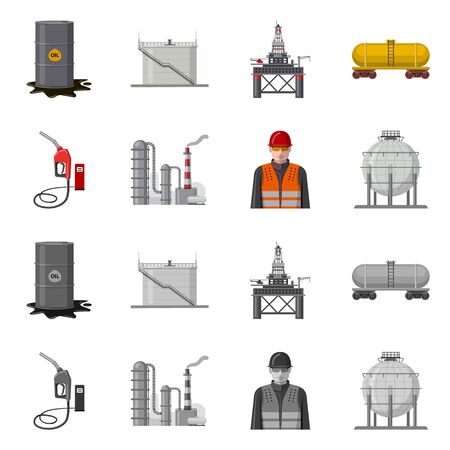 Vector illustration of oil and gas symbol. Collection of oil and petrol stock vector illustration. Illustration