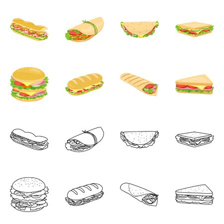 Vector illustration of dinner and cuisine icon. Set of dinner and breakfast stock vector illustration. Vector Illustratie